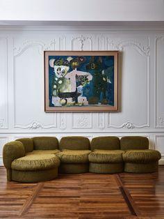 Modern Armchair, Modern Sofa, Vintage Italian, French Vintage, Mohair Fabric, Sofa Material, 1950s Design, Italian Sofa, Curved Sofa