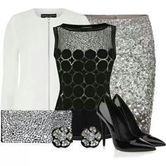 Silver Sequin Skirt/Black Top/White Jacket/Black Patent Leather Pump