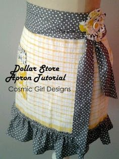 Quick and Easy Apron Tutorial - made from a dollar store dish towel and less than a yard of fabric.  Great for Mom!