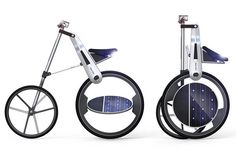 Sexy Solar Bike. The Solar Bike is a cool concept that allows us to work some calories and conveniently switch to electric pedaling once we are tired. The bike features some strategically placed solar panels that take in the goodness of sun to do the job. #solar