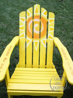 Painting Adirondack Chairs can be quite the challenge because of all the nooks and crannies! I always start with the chair upside down to be sure to spray much… Wooden Adirondack Chairs, Adirondack Furniture, Outdoor Chairs, Outdoor Lounge, Patio Chairs, Office Chairs, Outdoor Living, Dining Chairs, Outdoor Fun