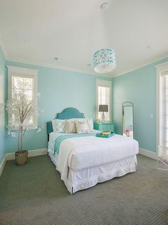 Bedroom Turquoise Room Design Ideas - All For Decorations Turquoise Bedroom Decor, Living Room Turquoise, Bedroom Green, Bedroom Colors, Teen Room Colors, Relaxing Master Bedroom, Farmhouse Master Bedroom, Master Bedrooms, Blue Bedrooms