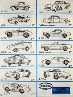 "Vintage Listing of Aurora Plastics Corp. Scale (H. Gauge) Slot Cars With the Fabulous ""Pancake"" Motor, Copyright 1963 Ho Slot Cars, Slot Car Racing, Slot Car Tracks, Model Cars Kits, Kit Cars, Plastic Model Kits, Plastic Models, Lincoln, Car Racer"