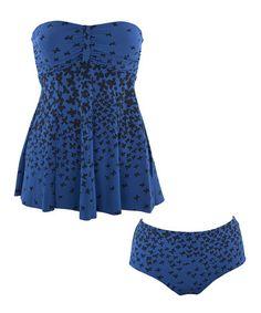 Look at this #zulilyfind! Blue & Black Floral Strapless Tankini - Plus by Diva Swim #zulilyfinds