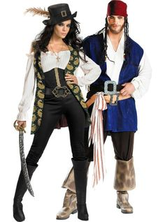 Deluxe Angelica and Classic Captain Jack Sparrow Pirates of the Caribbean Couples Costumes - Party City