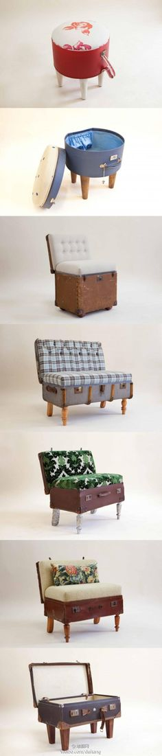suitcase to stool