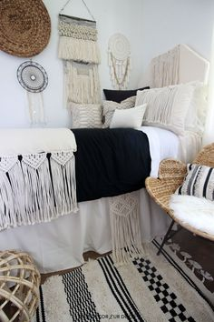 Dorm season is finally here. We are so excited to launch these gorg dorm bedding designs we have been working on for months. This season we're seeing tons of pattern (think palm), texture, macrame, and unexpected fabrics. Of course, neutrals are always a good idea. Dorm Room Headboards, Dorm Bedding Sets, Bedding Master Bedroom, Teen Bedding, Bedroom Sets, College Bedding, Bedrooms, Sitting Room Decor, Cute Room Decor