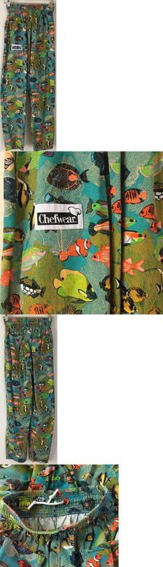 Pants and Shorts 163525: Pants Chefwear Tropical Fish Teal Aqua Orange Green Elastic Waist Baggy Small S -> BUY IT NOW ONLY: $39.99 on eBay!