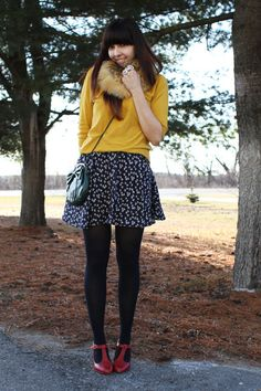 Sweater over dress with scarf
