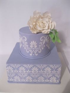 Purple square with stenciling and a rose By cakesbyliz on CakeCentral.com