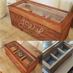Classy storagebox for the gentlemans. 3 clocks storage. Made with American Oak and a touch of light brown pickling.  Hand ingraved silver details   Made by; Trond Olsen