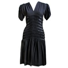 YVES SAINT LAURENT black dress with sequined bodice