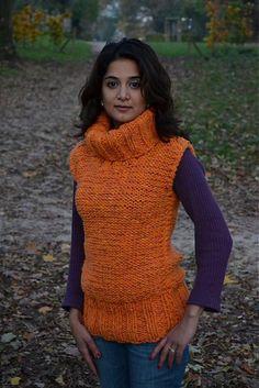 Fira / Rucne pletena oranzova vesta VYPRODEJ