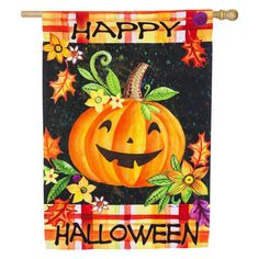 Evergreen Flag Happy Jack-O-Lantern House Flag - 13S4638
