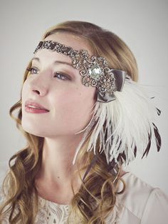 Cocoa And Ivory Ostrich Feather Flapper Headband-Featured In Style Section New York Times