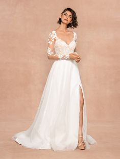 Style 12010 Remi Blush by Hayley Paige bridal gown - Frosted Lily embroidered A-line gown, sweetheart neckline with illusion long sleeves and nude lining, keyhole back with floral appliqué, flowing skirt of layered net and tulle with slit. Hayley Paige Bridal, Blush By Hayley Paige, Long Wedding Dresses, Designer Wedding Dresses, Wedding Gowns, Wedding Attire, Bridesmaid Dresses, Dresses Dresses, Main Image