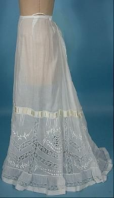 c. 1910 White Batiste Cotton Fancy Lace Slip with Embroidery
