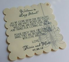 Hotel Welcome Bag Tags Weddings