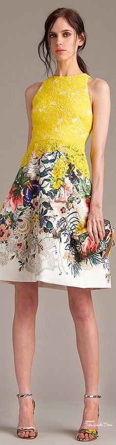 Monique Lhuillier Resort 16: floral dress with yellow lace.