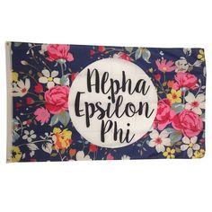 Alpha Epsilon Phi AEPHI Sorority Floral Flag - Brothers and Sisters' Greek Store