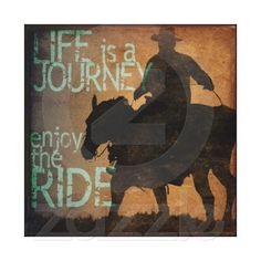 Rustic Horse Art Enjoy the Ride Stretched Canvas Print