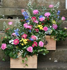 A couple of rustic wooden wine crates full of beautiful bright blooms for a July wedding at Wedderburn Castle. Contact The Stockbridge Flower Company, Edinburgh for more details Barn Wedding Flowers, Floral Wedding, Rustic Wedding, Wooden Wine Crates, Barn Parties, Flower Company, July Wedding, Garden Landscape Design, Bright Flowers