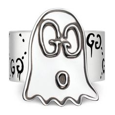 Gucci Guccighost Ring In Silver (39180 RSD) ❤ liked on Polyvore featuring jewelry, rings, jewellery & watches, silver jewellery, gucci, silver band ring, silver rings and engraved silver jewelry