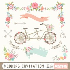 "Wedding Invitation Clipart II: ""WEDDING INVITATION clipart"" with tandem clipart, garland, flowers bouquet, banners clipart for scrapbooking"