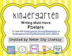 These cute full color chevron and stripe posters are made to be used with Kindergarten Writing Bookmarks or Kindergarten Writing Bookmarks with LABELS!. There are 5 posters which include: - Writing Must-Haves intro poster- Space between words- Write left to right- Write top to bottom- Write a sentence using a period or question mark Each poster can be added to a bulletin board as each skill is introduced.