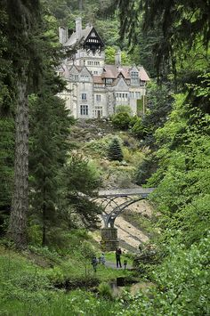 Cragside estate in Northumberland, England.  The first house to be lit using hydroelectric power.