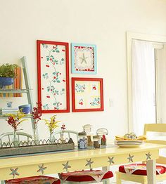 Great solution for stained vintage tablecloths~ frame pieces.