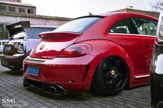 #Volkswagen_Beetle #Slammed #Stance #Modified #Bagged on Ferrari rims