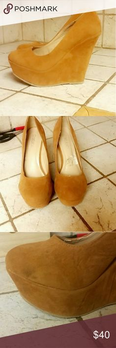 Tan platform wedges 6.5 Gently used, signs of wear have been pictured  Size 6.5 Suede heels Open to offers!! :) Delicasy Shoes Wedges