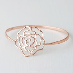 »Rose Gold Rose Bangle Bracelet Sterling Silver from kellinsilver.com« #bracelet #jewelry