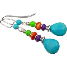 Turquoise, Spiny Oyster and Sterling Silver Earrings Turquoise teardrops to which I've added mohave green and purple turquoise beads and gorgeous bright orange spiny oyster with sterling silver spacers and bead caps. The Kingman mine in Arizona has a special process where they add red and yellow dye to their blue, stabilized turquoise beads and create this wonderful purple and green colors. The earrings measure approx 2 inches from the top of my hand made sterling silver and turquoise ear…