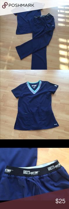 Greys Anatomy scrubs Greys Anatomy navy scrub set.  Very cute cute and comfortable scrub set. Greys Anatomy Tops