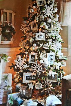 spray paint small frames for photos for tree.  Love this shabby chic blog.