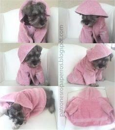 Mimi y Tara | Patrones de ropa para perros: Patrón de bata de baño para perro