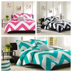 Chevron Zig Zag Bed n Bag Twin Full/ Queen King PINK WHITE BLUE WHITE Comforter #MIZONE #Contemporary