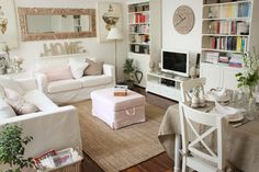 light, bright and cozy; lots of accessories but doesn't feel crowded