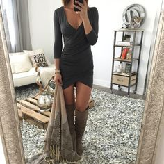 This #dress (Ally Ruched Dress) is so pretty! You can dress it up or down too! I would wear with a #cardigan and some #boots! :)