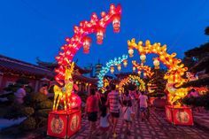 Mid-Autumn Festival at Shuang Lin Shi Monastery #Midautumn #temple #lantern #bluehour #colours #Singapore #photography