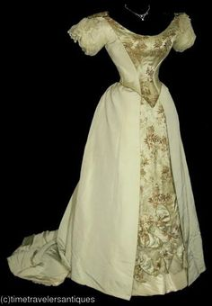Pale  green silk faille and brocade ball gown, c. 1890