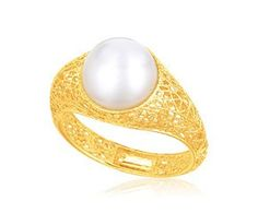RICHARD CANNON Cultured Pearl Lace Ring in 14K Yellow Gold