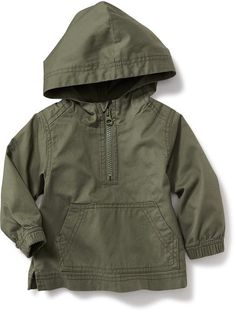 Hooded Twill 1/4-Zip Jacket Product Image