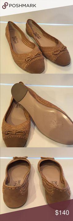 Salvatore Ferragamo Cap-Toe Raffia Flats cheap footlocker pictures HaaEms