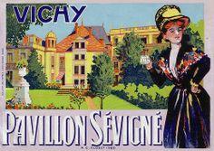 Vintage luggage label: Pavillon Sévigné, France