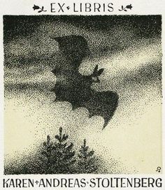 Unidentified Artist. Flying Bat. Ex Libris for Karen and Andreas Stoltenberg. Etching.