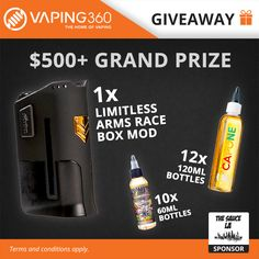Limitless Arms Race Box Mod, 3000ml e-Juice The Sauce LA Giveaway https://gleam.io/T1khc-lVikh3
