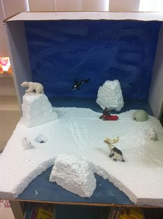 Science bioramas - biome diorama project// The Arctic Ecosystems Projects, Science Projects, School Projects, Projects For Kids, Crafts For Kids, Arctic Habitat, Bear Habitat, Diy Pour Enfants, Arctic Tundra